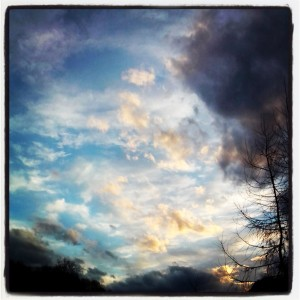 Afternoon sky during a walk with my daughters in February.